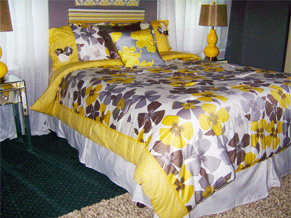 custom yellow and purple bed spread